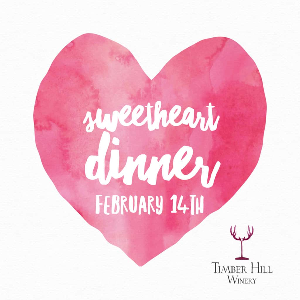 sweetheart dinner Valentine's Day at the winery