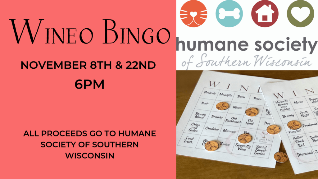 Wineo Bingo For The Humane Society Of Southern Wisconsin Timber Hill Winery