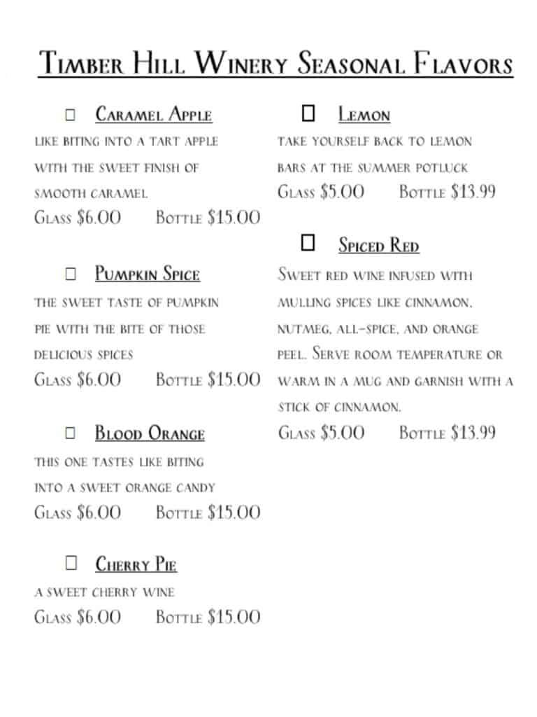 seasonal menu