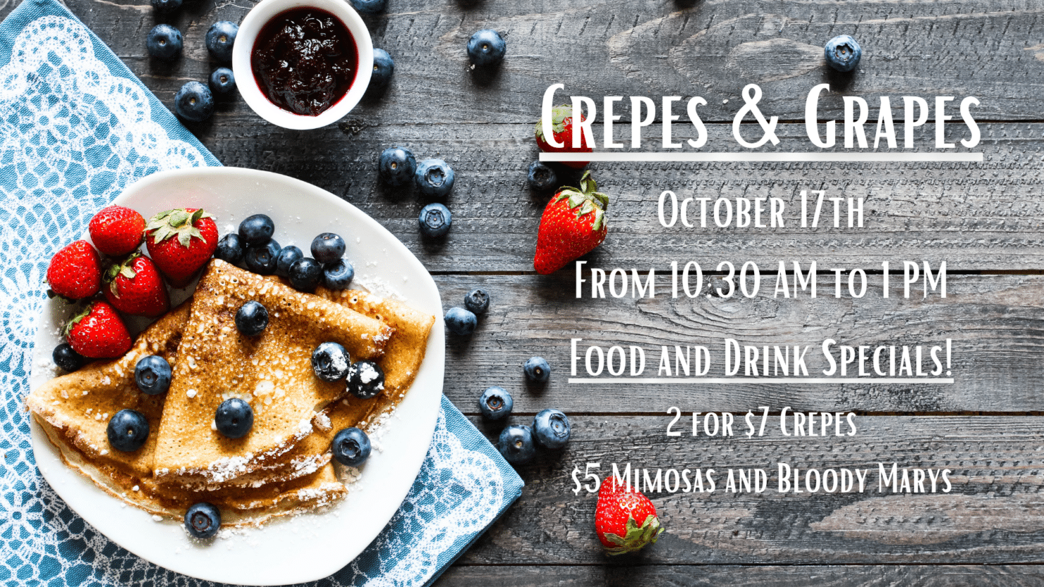 Crepes & Grapes Brunch at Timber Hill Winery